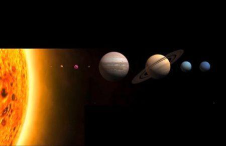 حجم الأرض والمجموعة الشمسية