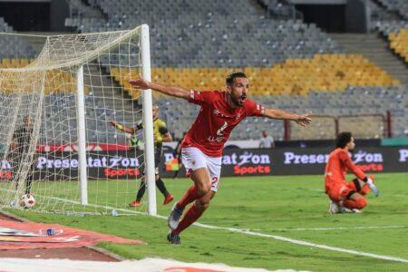علي معلول بعد إحرازه هدف مع الأهلي