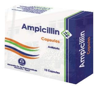 صورة, عبوة, كبسولات, أمبيسيللين, Ampicillin