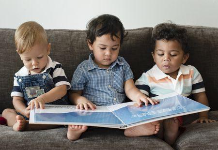 صورة , أطفال , القراءة , التعليم , أولاد