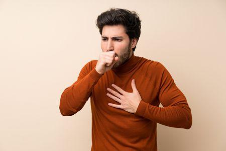 صورة , رجل , السعال , مرض التليف الرئوي