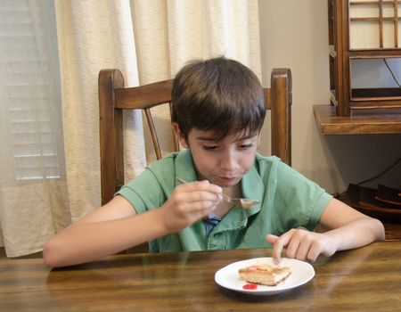 تناول الحلويات ، السكري ، صورة ، طفل