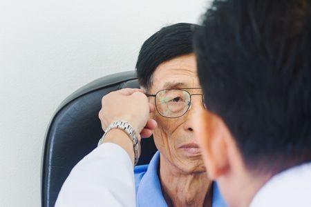 صورة , طبيب , مريض , المياه الزرقاء , عين