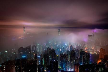 هونج كونغ ، الصين ، القمة ، شارع النجوم ، المعبد الليلي ، بوذا الكبير