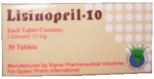 صورة, عبوة, ليزينوبريل, Lisinopril