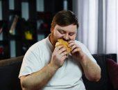 صورة , رجل , يأكل , السمنة