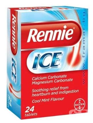 صورة , عبوة , دواء , أقراص للمضغ , لعلاج فرط حموضة المعدة , ريني ايس , Rennie-Ice