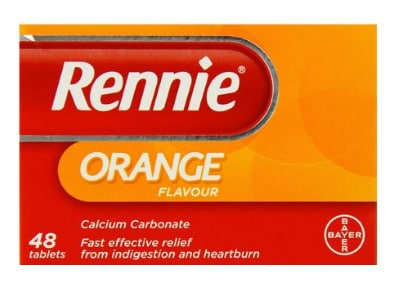 صورة , عبوة , دواء , أقراص للمضغ , مضاد للحموضة , ريني بطعم البرتقال , Rennie Orange