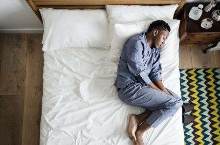 صورة , رجل , نائم , ساعات النوم , السمنة