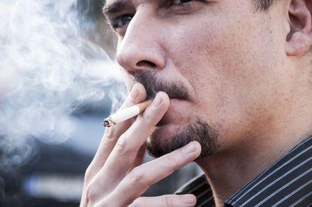 صورة , التدخين , رجل , مدخن , السرطان