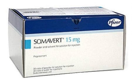 صورة , عبوة , دواء , لعلاج ضخامة الأطراف , سومافيرت , Somavert