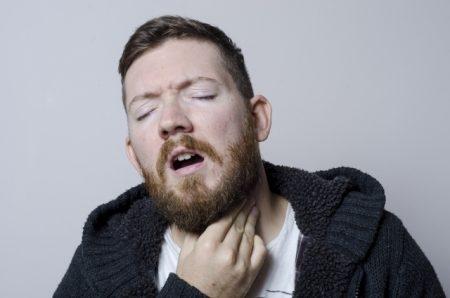 صورة , رجل , مريض , علاج التهاب الحلق