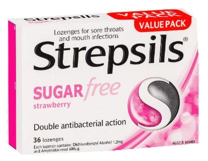 صورة , عبوة , دواء , لتخفيف آلام الحلق , ستربسيلس بدون سكر , Strepsils-Sugar-Free-Strawberry