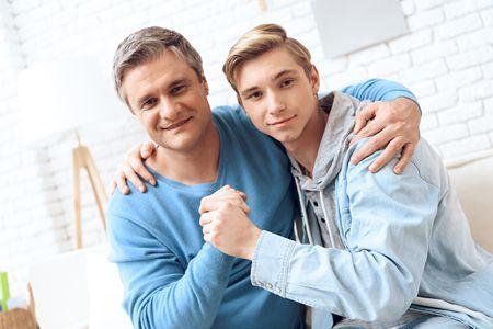 صورة , أب , الابن المراهق , مرحلة المراهقة