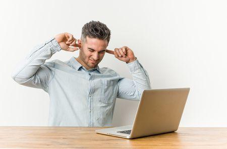 صورة , رجل , العمل , الضجيج , السمع