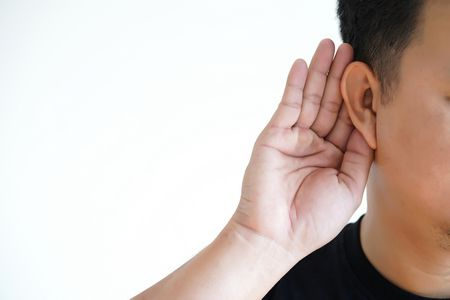 صورة , رجل , أصم , أذن