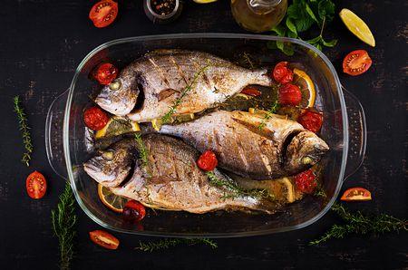 صورة , غذاء , أسماك