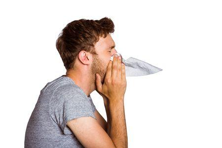 صورة , رجل , الأنفلونزا , نزلات البرد