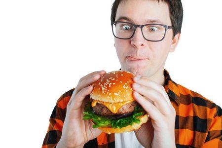 صورة , رجل , طعام , اضطراب الأكل القهري