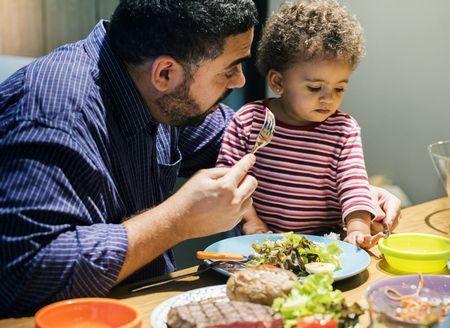 صورة , طفل , أب , النظام الغذائي , طعام