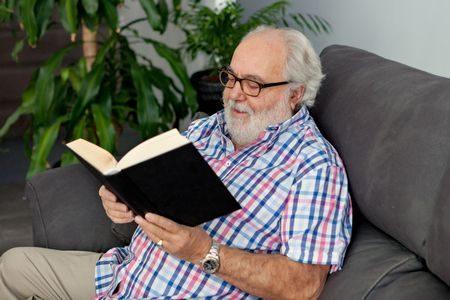 صورة , رجل , كبار السن , القراءة , وقت الفراغ